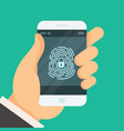 mobile phone unlocked with fingerprint button - vector image