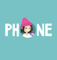 phone concept sign young teenage girl is looking vector image