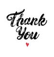 Thank you hand written calligraphy with heart vector image
