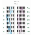 Piano chords infographics with keyboard vector image
