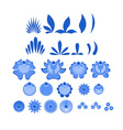 Gzhel painted set of elements Flowers and leaves vector image