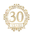 Golden emblem of thirtieth years anniversary in vector image