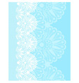 White flower lace border on blue background vector image