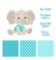 Baby boy elephant design with seamless patterns vector image