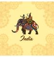 Indian maharaja on elephant mandala ornament vector image