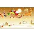 Santa Claus with Christmas gift in Sledge vector image