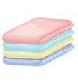Stack of towels in different colors vector image