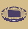 Kansas map silhouette - oval stamp of state vector image