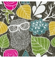 Wild owl in the autumn forest seamless pattern vector image vector image