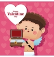 happy valentine day cupid wooden chest pink heart vector image