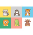 animal set of portrait in flat graphics vector image