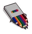 Pencil case with colored pencils for drawing vector image