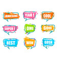 trendy speech bubble isolated colorful set vector image