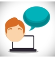 laptop guy bubble speech talk vector image