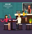 cafe worker flat composition vector image