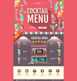 flat style cocktail bar design web site design vector image