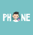 phone concept sign young bearded man is looking vector image
