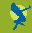 jumping woman silhouette vector image
