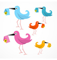 Colorful Paper Birds with Email Envelope vector image