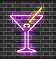 glowing neon bar sign with martini glass vector image