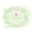 Greeting card with wreath vector image
