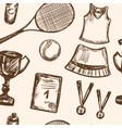 Hand drawn Tennis game seamless pattern vector image