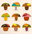 Mushrooms Collection Mushroom Set with Rain Drops vector image