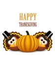 Thanksgiving turkeys with pilgrim hat and pumpkin vector image