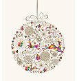 Vintage Christmas bauble greeting card vector image