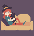Witch on Sofa with Cat vector image