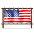 A wooden frame with the American flag vector image