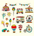 doodle set of circus elements isolated on white vector image