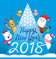 happy new year 2018 text santa claus reindeer vector image