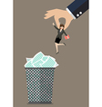 Boss throws a business woman in the trash can vector image