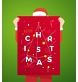 Flat Style Person Wearing Santa Suit Holding vector image