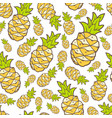 Seamless summer pattern with color pineapple vector image