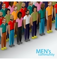 3d isometric of male community with a large group vector image