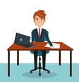 businessman work sitting office desktop design vector image