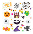 happy halloween elements on white background vector image