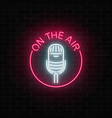 neon on the air signboard with microphone in vector image