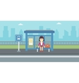 Woman waiting for bus at the bus stop vector image