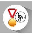 bmx cyclist medal sport extreme graphic vector image