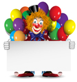 redhead clown with a banner and balloons vector image vector image
