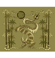 dragon with bamboo vector image