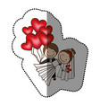 color married couple with red heart bombs vector image