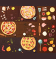 cooking of pizza banners set vector image