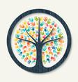 hand print tree of diverse community team help vector image