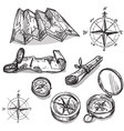 Set of hand drawn compasses and maps vector image vector image