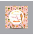 Tropical Cactus Wedding Card Parrot Bird Card vector image vector image