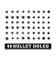 bullet holes on white vector image